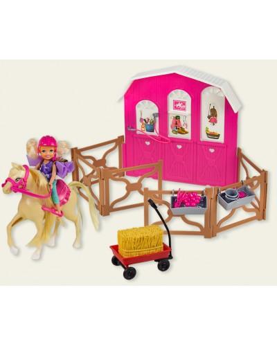 """Кукла маленькая K899-55  """"Наездница"""", шлем, лошадь, манеж, тележка с сеном, в кор. 50,5*10*33см"""