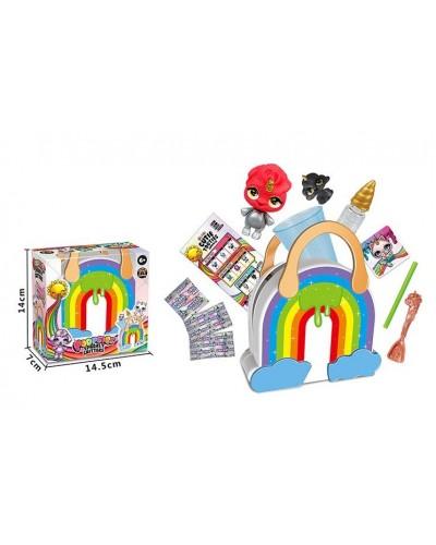 Игровой набор Q303 сумочка-радуга, фигурка, слайм, в коробке 14*7*14,5см