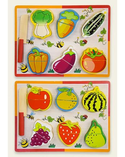 """Деревян. """"разрезалки"""" WD1905 2 вида, овощи/фрукты, 6шт на липучках с ножем, в пленке 30*22см"""