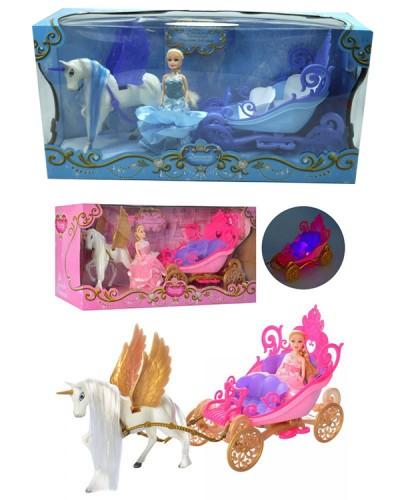 Карета 2204D/2201B 2 вида ,свет ,кукла ,аксессуары, р-р игрушки-38*10*19см, кукла-15см, в кор. 41см