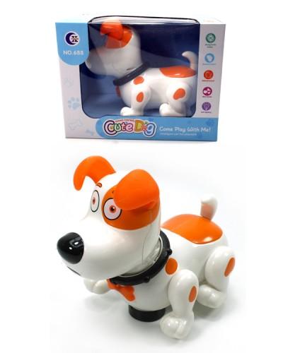 Интерактивное животное 688 Собачка, 2 цвета, свет, звук, музыка, размер игрушки - 20*10*15,5см