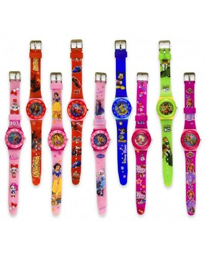 Детские наручные часы 4242 водоотталкивающие, 9 видов, 22 см, в пакете 23,5*4,5см