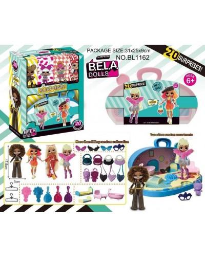Игровой набор кукла Bella Dolls BL1162 чемодан с мебелью д/ кукол, кукла 17,5см + сюрпризы