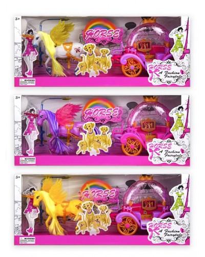 Карета 120-1 с лошадью-единорогом, 3 вида, р-р игрушки-43*10*17см, в коробке 50*12*20 см