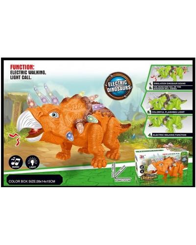 Интерактивное животное 854B батар., динозавр, звук,свет, ходит, 2 цвета, в коробке 28*14*15см