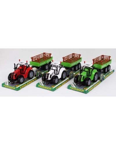 Трактор инерц. FB17-2 с прицепом, 3 цвета, под слюдой 37*10*11,5см