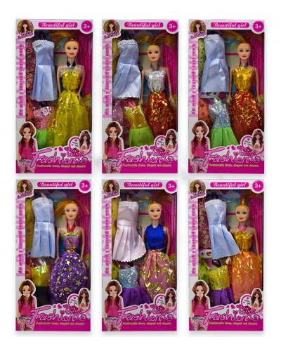 Кукла  2020A1  6 видов, набор платьев, в кор.32,5*4,5*16 см