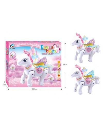 Муз. животное 2096 Лошадка, 2 цвета, свет, звук, в коробке 22,5*19*7см