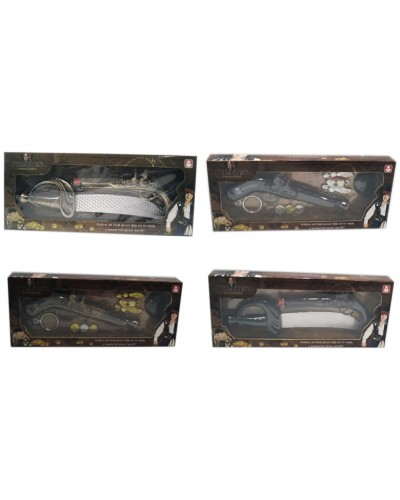 Пиратский набор 666/-3/4/9  2 вида, 2 цвета, ружье, аксессуары, в коробке 14,5*35*4см