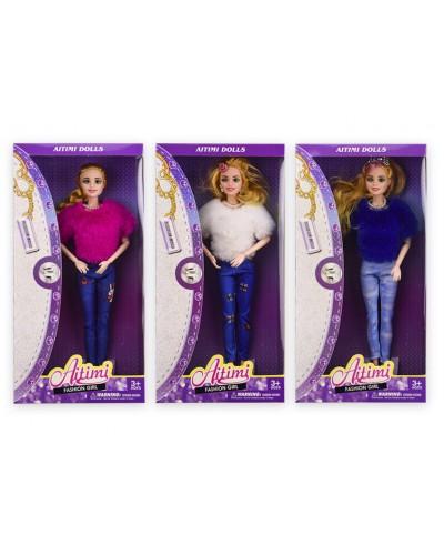 Кукла  KP152(1905058) 3 вида, в зимней одежде, р-р игрушки – 29 см, в кор.16*5,5*32,5 см