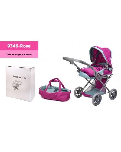Коляска-трансформер 9346-Rose розовая с мятным, зима-лето, съемная переноска, корзина