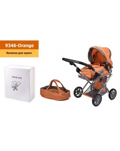 Коляска-трансформер 9346-Orange оранжевая с коричневым,зима-лето, съемная переноска, корзина