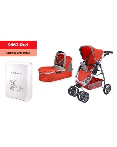 Коляска-трансформер 9662-Red красная с коричневым, регулир ручка, 2 съемные люльки, корзина