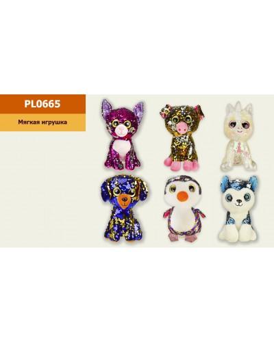 Мягкая игрушка PL0665 глазастики-пайетки, 6 видов, р-р игрушки - 13*13*23см, в пакете 25*27см
