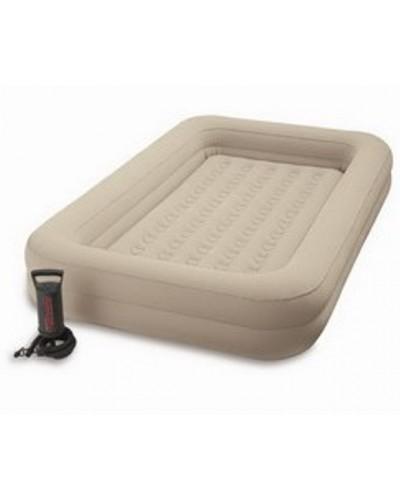 Кровать велюр 66810 беж.,с бортиками, ручной насос, с сумкой, в кор. 107*168*25см
