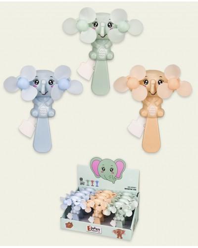 Вентилятор ручной KD081  слоники, 3 цвета, р-р игрушки - 11,5*7,5*17см,12шт в дисплей боксе