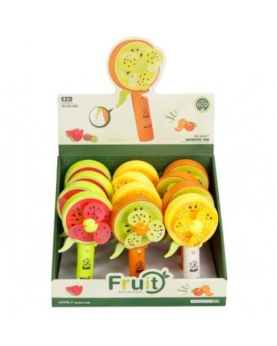 Вентилятор ручной KD077  фрукты, с распылителем воды, 3 вида, 12шт в дисплей боксе 30*24*19