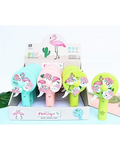 Вентилятор ручной KD082 фламинго, 3 цвета, с распылителем воды, 9,5*6*18,5см, 12шт в диспл.