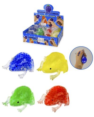 Антистресс AN2821 лягушки с шариками орбиз, 4 цвета, 8 см, 12 шт в дисплей боксе -  22*18*6 см