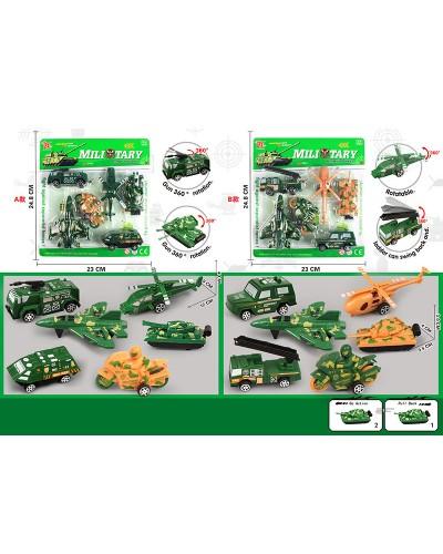 Набор транспорта инерц.  Military DYB168-236B  2 вида, на планш. 23*24,8см