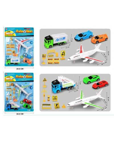 Набор транспорта Aviation DYB168-267  2 вида, в наборе транспорт + знаки дорожного движения