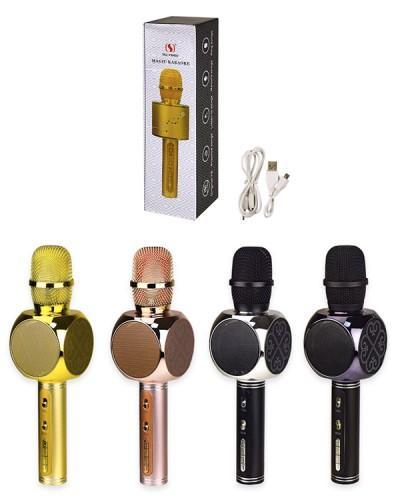 Микрофон караоке M139 свет, юсб зарядка, 4 цвета, в коробке 8*8*29 см, р-р микрофона – 7*7*27 см