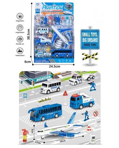 Набор транспорта Aviation 898E-34 транспорт +фигурки +знаки дорожн. движ., в блистере 38,5*24,5*6см