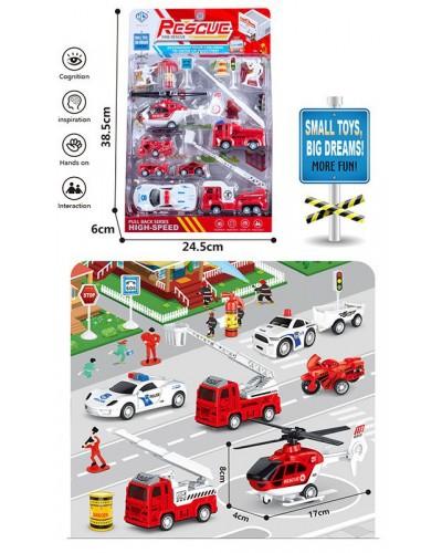 Набор транспорта Rescue 898E-37 транспорт +фигурки +знаки дорожн. движения, в блистере 38,5*24,5*6см