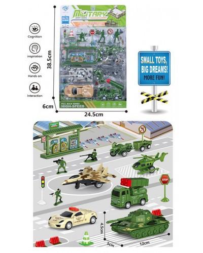 Набор транспорта Military 898E-38 транспорт +фигурки +знаки дорож. движен., в блистере 38,5*24,5*6см