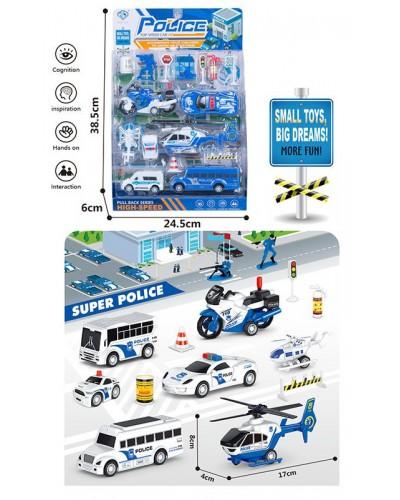 Набор транспорта Police 898E-31 транспорт +фигурки +знаки дорож. движ., в блистере 38,5*24,5*6см