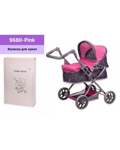 Коляска 9680-Pink мет, с люлькой+корзина, регулируется ручка, в кор. 41,5*11*61,5 см