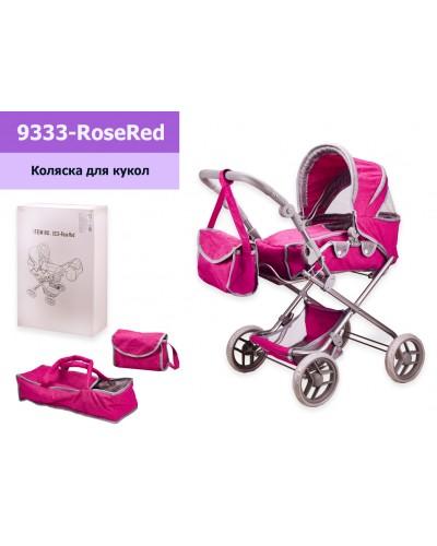 Коляска 9333-Rose Red (3шт) мет,трансформер, сумка-переноска, качается, в кор 38*16,5*57 см