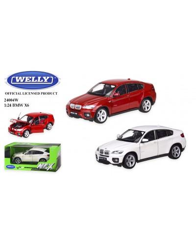 """Машина метал 24004W """"WELLY""""1:24 BMW X6, откр.двери, капот, 2 цвета, в кор.23*11*10 см"""