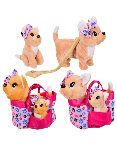 Мягкая игрушка BL-155R муз. собачка в сумочке со щенком, 2 вида, р-р собачки-26*12*27см