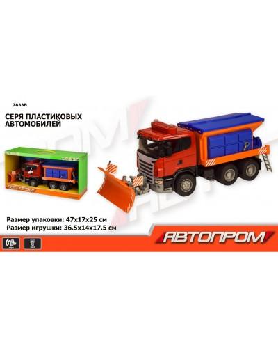 """Машина инерц. 7833B снегоуборочная """"АВТОПРОМ"""", 1:12, батар., свет, звук, в коробке 47*17*25см"""