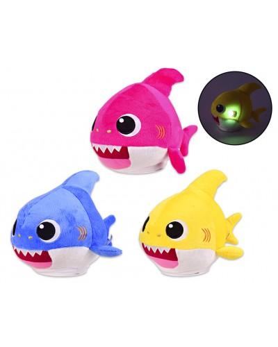 Мягкая игрушка M1976 муз. акуленок, 3 цвета, свет, звук, р-р игрушки – 24*14*20 см, в пакете