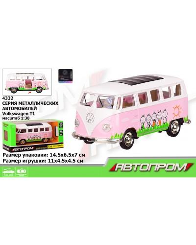 """Автобус металл 4332 """"АВТОПРОМ"""",1:38 Volkswagen T1,розовый цвет,откр.двери,в кор. 14,5*6,5*7см"""
