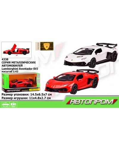 "Машина металл 4338 ""АВТОПРОМ"" 1:43 Lamborghini Aventador SVJ, 2 цвета, откр.двери, в кор. 14,5*6"