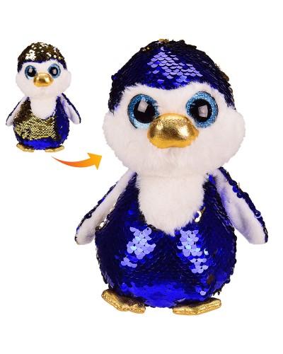 Мягкая игрушка M0965  пингвин в пайетках, 18 см