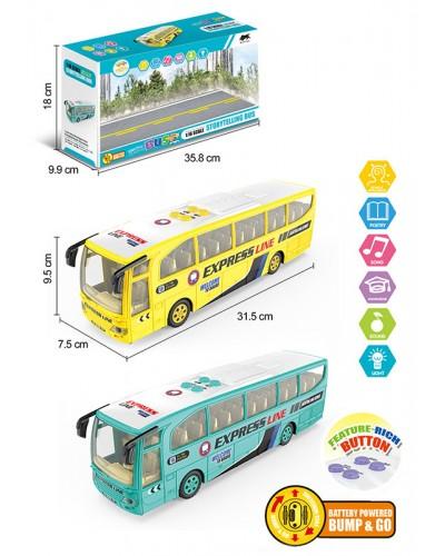 Автобус батар. 1578 2цвета, свет,звук, в кор. 38,5*9,9*18см