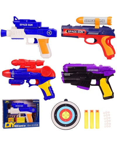 Бластер 19835A/7A/8A/9A 4вида, пороллон. снаряды, в кор. 26*4.5*20 см, р-р игрушки – 23 см