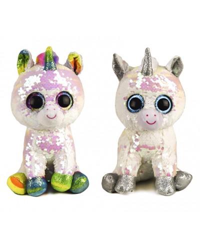 Мягкая игрушка PL0663 глазастики-пайетки, единорог 25 см, 2 цвета в пакете