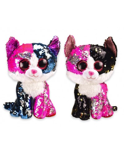 Мягкая игрушка PL0664 кошки глазастики-пайетки, 2 вида,р-р игрушки -  15*13*25 см, в пакете