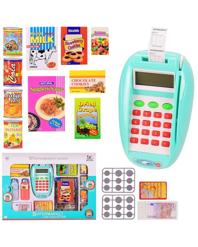 """Касса """"Терминал"""" 1611NK игрушечная карта и деньги,продукты,звук,в кор. 40*5*29 см, р-р игру"""