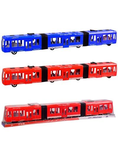 Троллейбус KX905-8 2 цвета, инерц, р-р игрушки 75*7*10 см, под слюдой  78*9*12 см