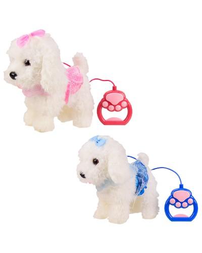 Мягкая игрушка M0672 собачка на поводке,звук, 2 цвета, в пакете, р-р игрушки – 21*11*22 см