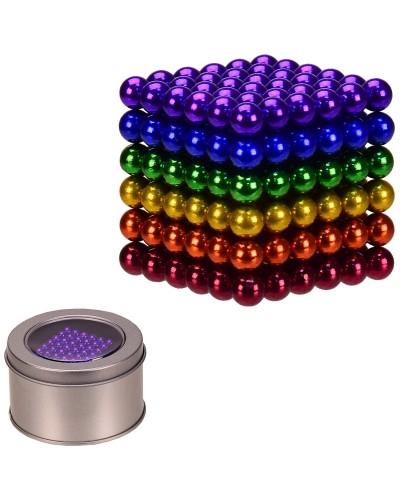Антистресс неокуб NC2253  цветной, 216 шариков 5 мм, в железном боксе  6.5*6.5*4.5 см, р-р куб