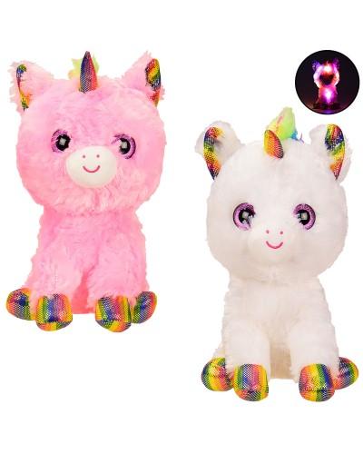 Мягкая игрушка BL0915  глазастик единорог со светом – 30 см, 2 цвета