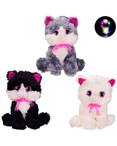 Мягкая игрушка BL0921 кот со светом 30 см, 3 цвета