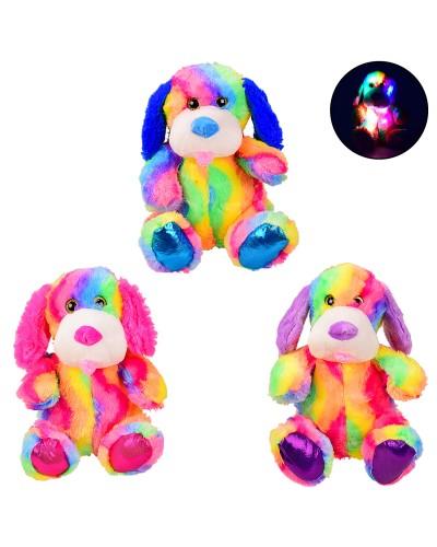 Мягкая игрушка BL0918 собачка со светом – 26 см, 3 цвета